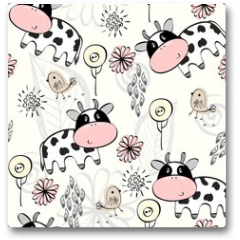 Plakat - babies hand draw seamless pattern with cows
