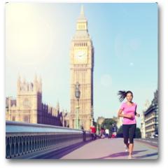 Plakat - London woman running Big Ben - England lifestyle