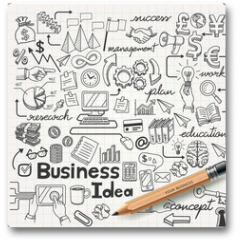 Plakat - Business Idea doodles icons set. Vector illustration.