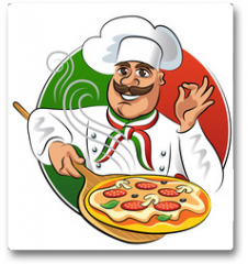 Plakat - Cook pizza. Vector illustration isolated on a white background