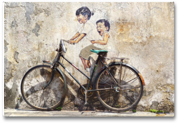 """Plakat - """"Little Children on a Bicycle"""" Mural."""