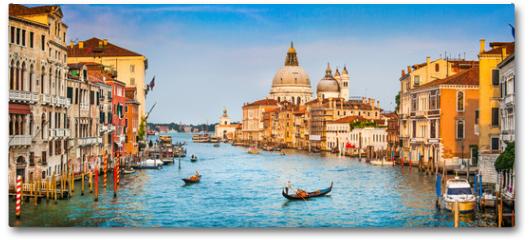 Plakat - Canal Grande panorama at sunset, Venice, Italy