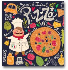 Plakat - Pizza design menu with chef