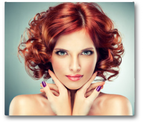 Plakat - Beautiful model red with curly hair