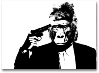 Plakat - Suicide man with gorilla head