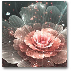 Plakat - pink and gray abstract  flower