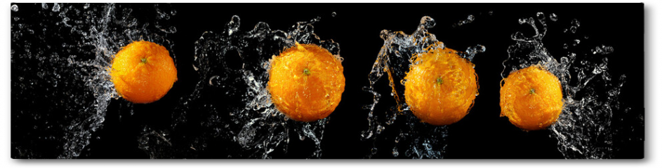 Plakat - Set of fresh oranges in water splash