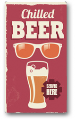 Plakat - Vintage retro beer sign - vector poster design
