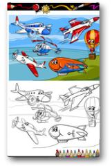 Plakat - planes and aircraft cartoon coloring book