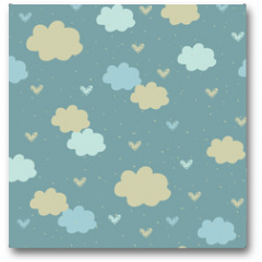 Plakat - Seamless pattern with clouds