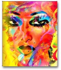 Plakat - Modern digital art image of a woman's face