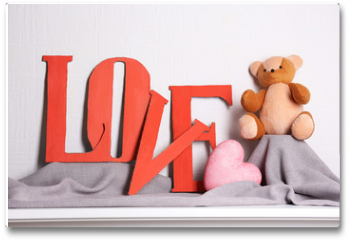Plakat - Decorative letters forming word LOVE with teddy bear