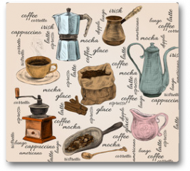Plakat - Vintage coffee handdrawn set