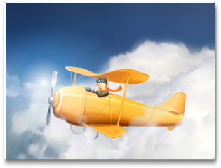 Plakat - Aircraft in the clouds, vector illustration