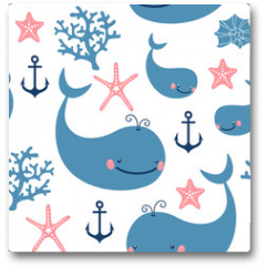 Plakat - Seamless pattern with cute whales.