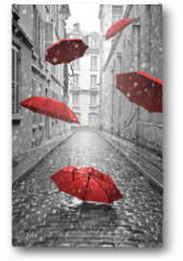 Plakat - Red umbrellas flying on the street. Conceptual image