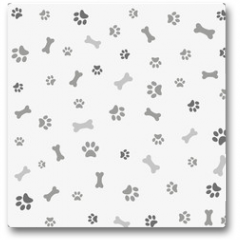 Plakat - Background with dog paw print and bone