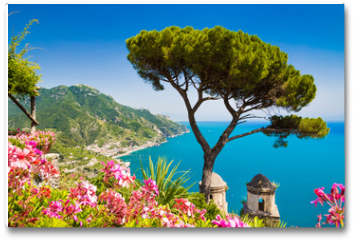 Plakat - Postcard view of Amalfi Coast, Ravello, Campania, Italy