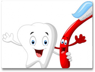 Plakat - Dental Tooth and Toothbrush cartoon character