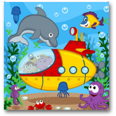 Plakat - animals on submarine - vector  illustration, eps