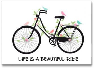 Plakat - Vintage bicycle with birds and flowers, vector