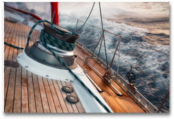 Plakat - sail boat under the storm, detail on the winch