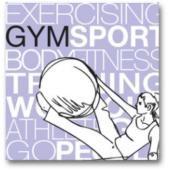 Plakat - Pilates illustration of woman stability ball gym fitness yoga