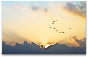 Plakat - el sol se asoma entre las nubes