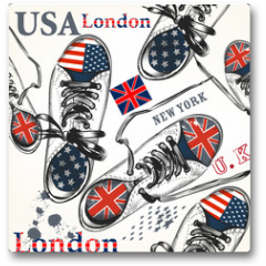 Plakat - Fashion seamless pattern with sports boots decorated by British