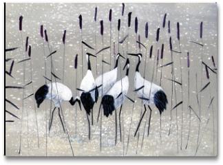 Plakat - family of cranes