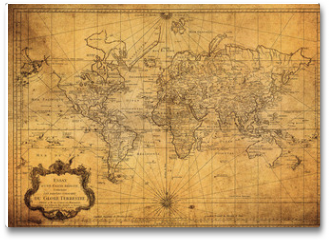 Plakat - vintage map of the world 1778