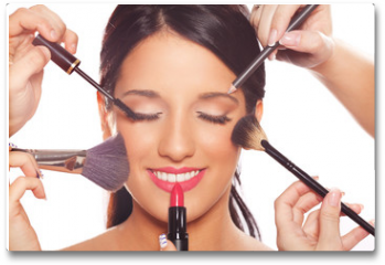 Plakat - Young woman getting professional beauty and makeup treatment