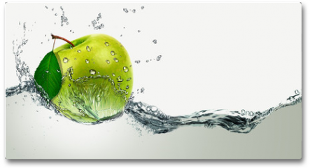 Plakat - Green Apple amid splashing water.