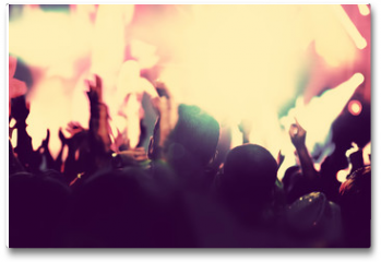 Plakat - Concert, disco party. People with hands up in night club.