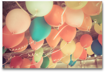Plakat - Colorful balloons floating on the ceiling of a party in vintage