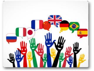 Plakat - mains bulles : apprendre les langues étrangères