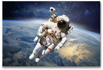 Plakat - Astronaut in outer space with planet earth as backdrop. Elements
