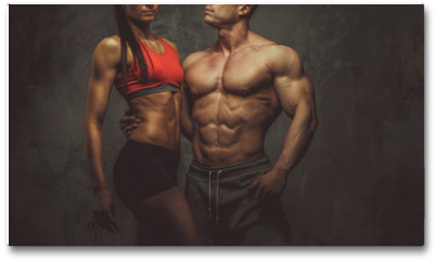 Plakat - Woman and man bodybuilders posing in studio