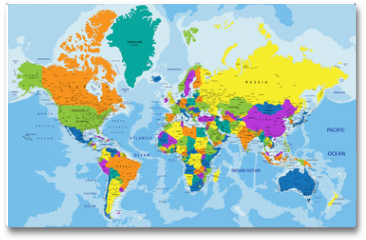 Plakat - Colorful World political map with clearly labeled, separated layers. Vector illustration.