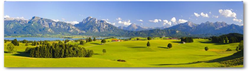 Plakat - Panorama Landschaft in Bayern mit Alpen, Berge und Wiesen im Allgäu