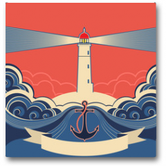 Plakat - Lighthouse label with anchor and blue sea waves