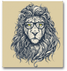 Plakat - Hipster lion vector illustration. Glasses separated.