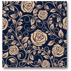 Plakat - Vintage roses flowers seamless pattern
