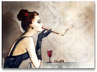 Plakat - Retro woman portrait with cigarette . watercolor illustration