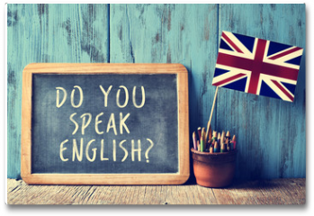 Plakat - text do you speak english? in a chalkboard, filtered