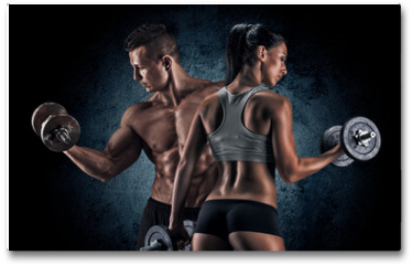 Plakat - Athletic man and woman with a dumbells.