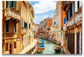 Plakat - View of the Rio Marin Canal from the Ponte de la Bergami. Venice