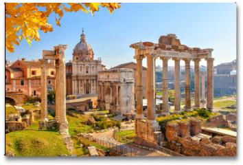 Plakat - Roman ruins in Rome, Forum