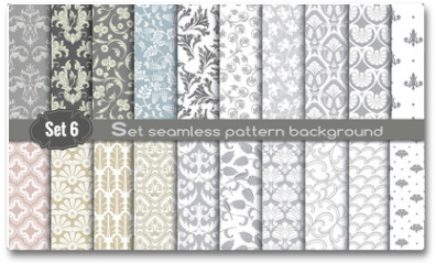 Plakat - Vector damask seamless pattern background.pattern swatches included for illustrator user, pattern swatches included in file, for your convenient use.