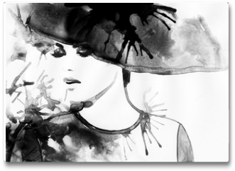 Plakat - Beautiful face. woman portrait with hat. abstract watercolor .fashion background